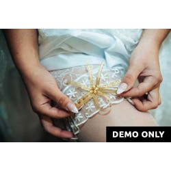 White & Gold Lace Garter Belt